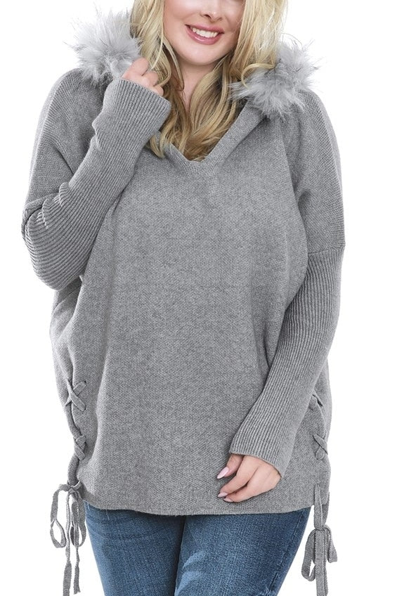 Gray Fur Hooded Sweater