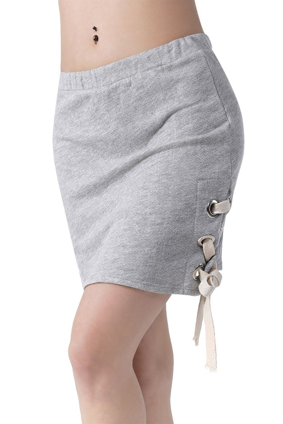Gray Lace-Up Mini Skirt