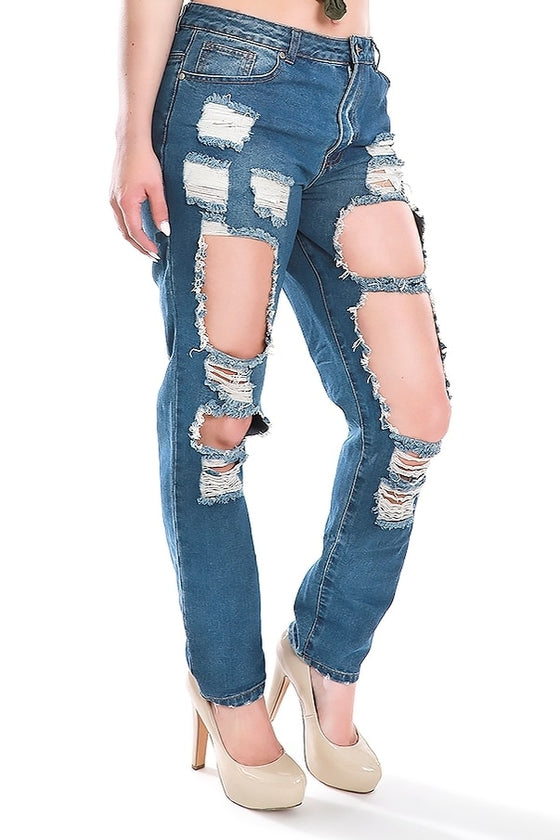 Mid-Rise Destroyed Boyfriend Jeans