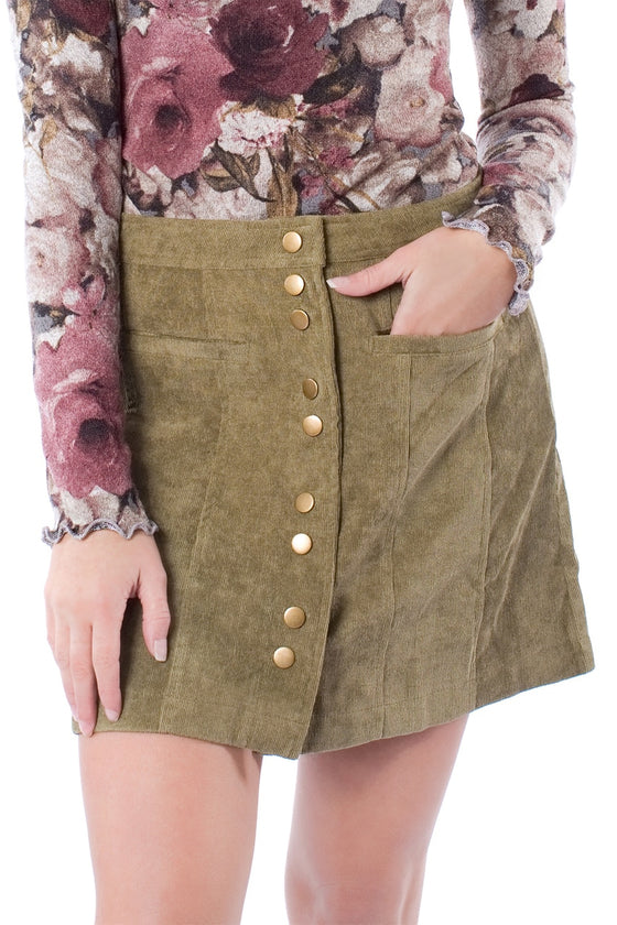 Corduroy High-Waist Mini Skirt