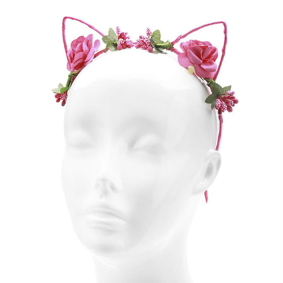 Hot Pink Floral Flower Cat Ears