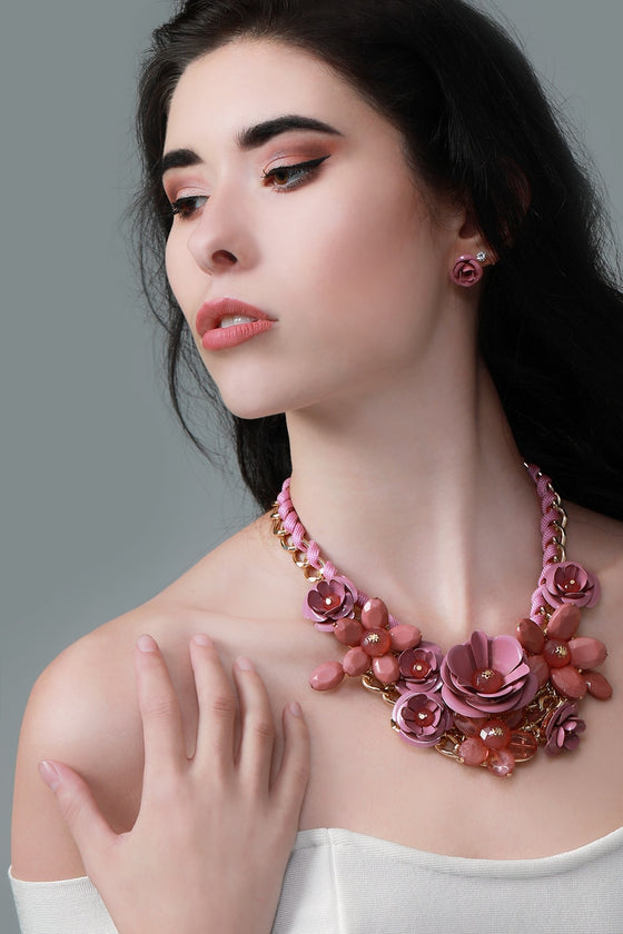 Pink Floral Statement Necklace Set