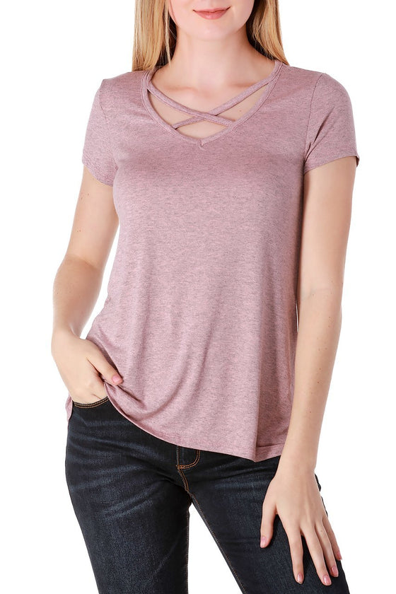 Pink Short Sleeve Crisscross Top
