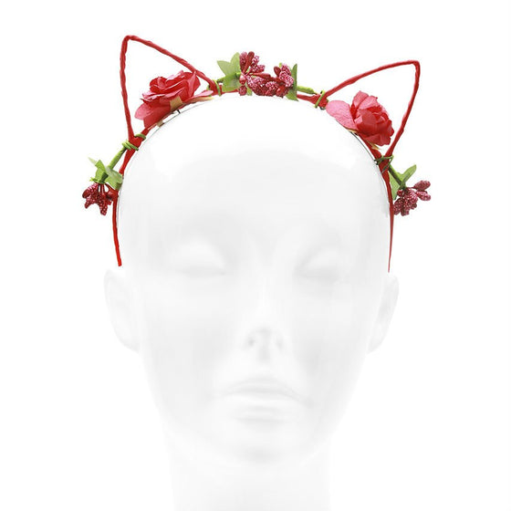Red Floral Flower Cat Ears
