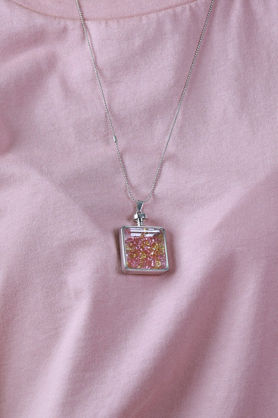 Pink & Yellow Square Vial Necklace