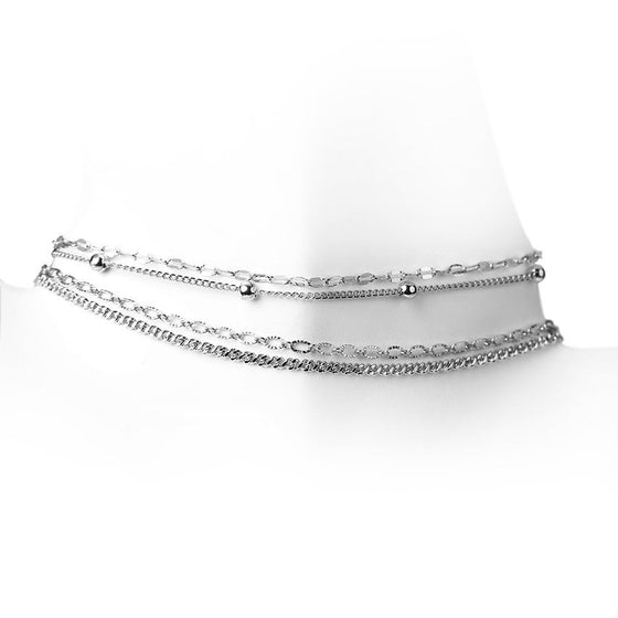 Silver Multi Chain Choker Set