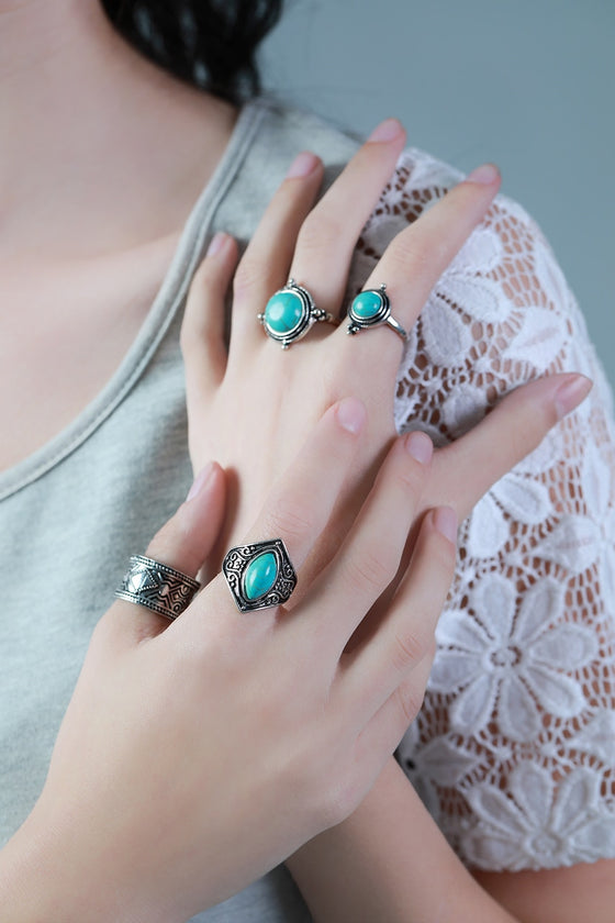 Silver Tribal Ring Set