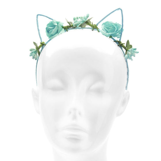 Blue Floral Flower Cat Ears