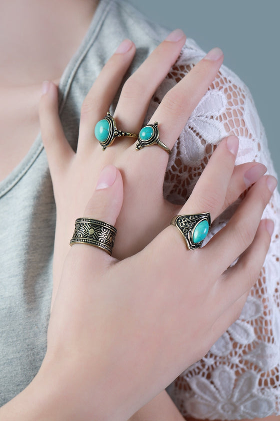 Gold Tribal Ring Set