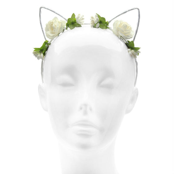 White Floral Flower Cat Ears