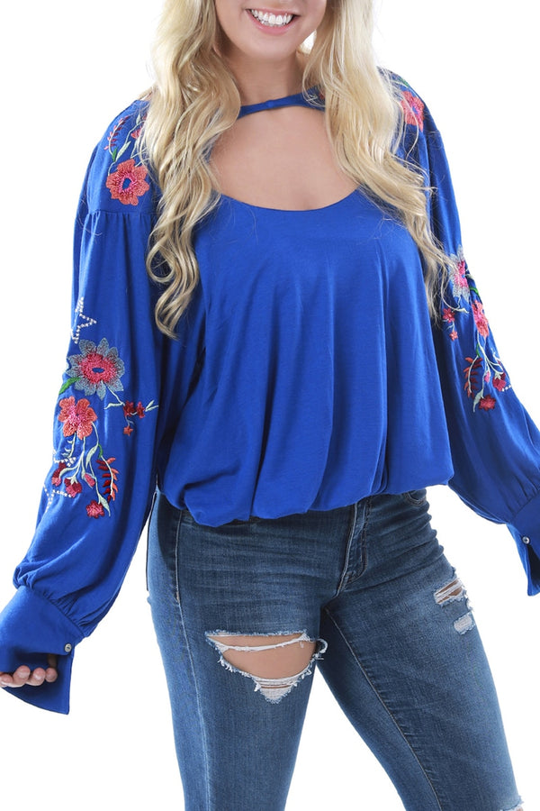 Blue Cut Out Top