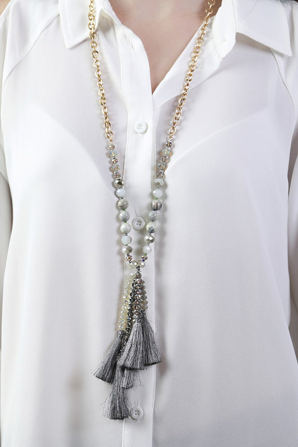 Gray Stone Tassel Necklace