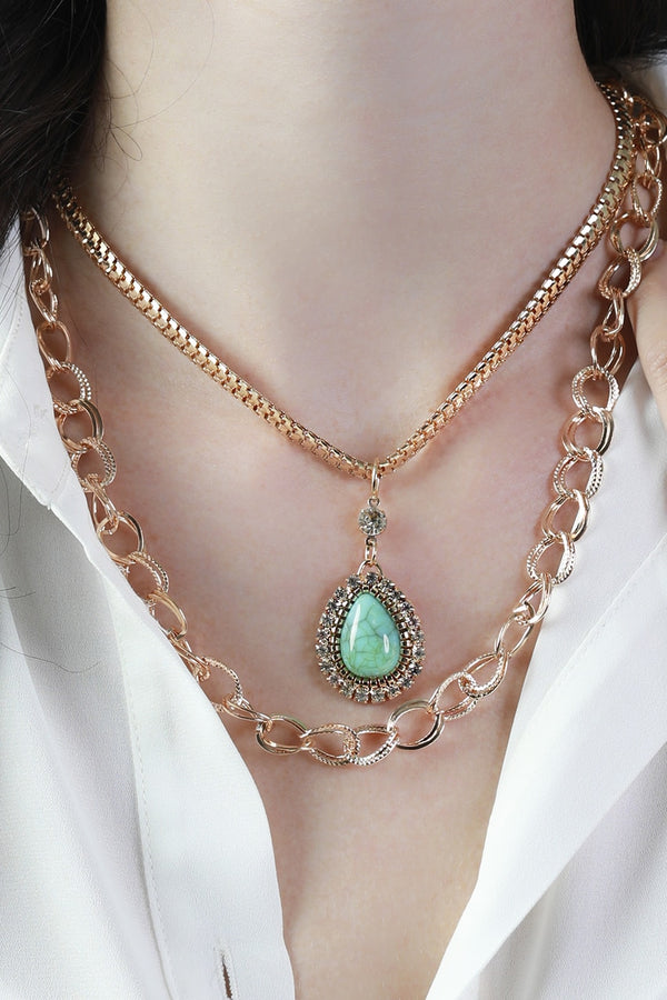 Turquoise Teardrop Stone Layered Necklace