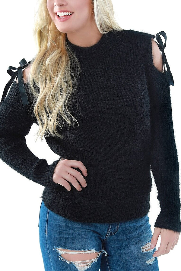 Fuzzy Black Cold Shoulder Sweater