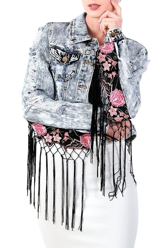 Flowers & Fringe Acid Wash Denim Jacket