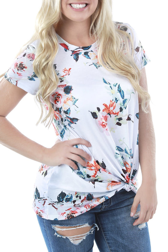 Knotted Floral Tee