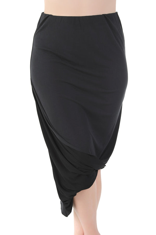 Black Twist Pencil Skirt