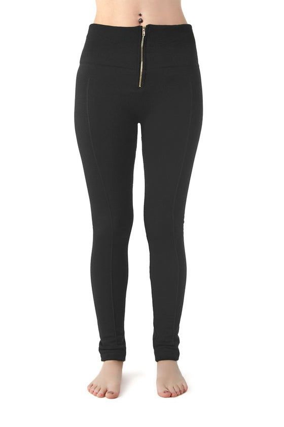 Black Mid-Rise Zip Up Leggings