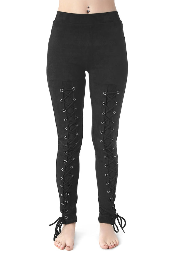Black Suede Lace-Up Leggings