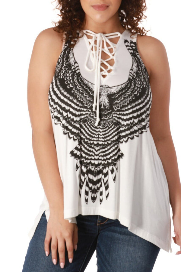 Eagle Feather Lace-Up Tank