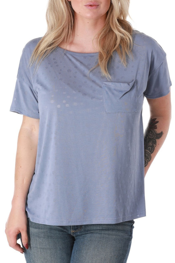 Dusty Blue High Low Pocket Tee
