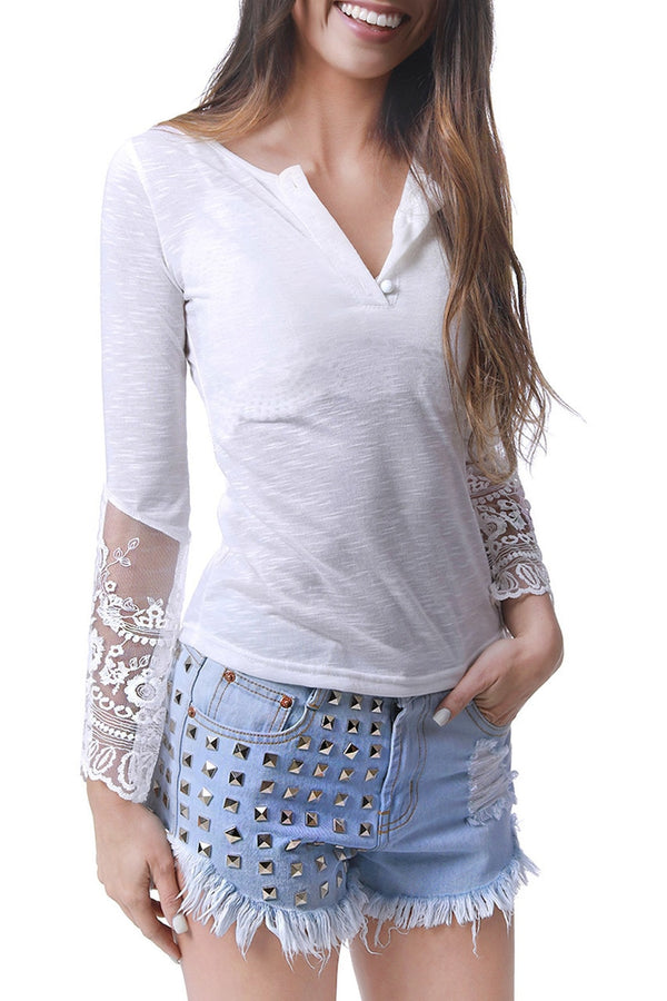 Embroidered Lace Long Sleeve Top