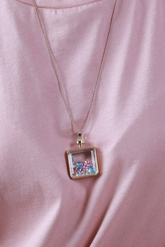 Pink & Blue Square Vial Necklace