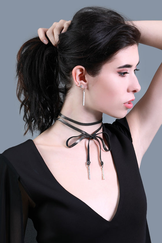 Pewter Leather Tie Choker & Earrings Set
