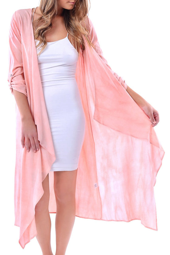 Peach Washed Cardigan