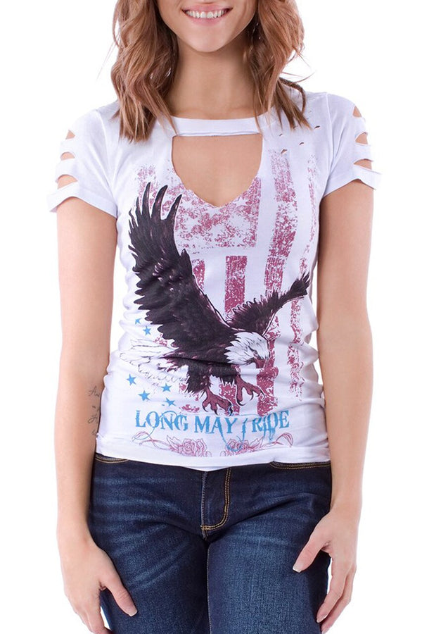 Graphic Eagle Cut Out Tee