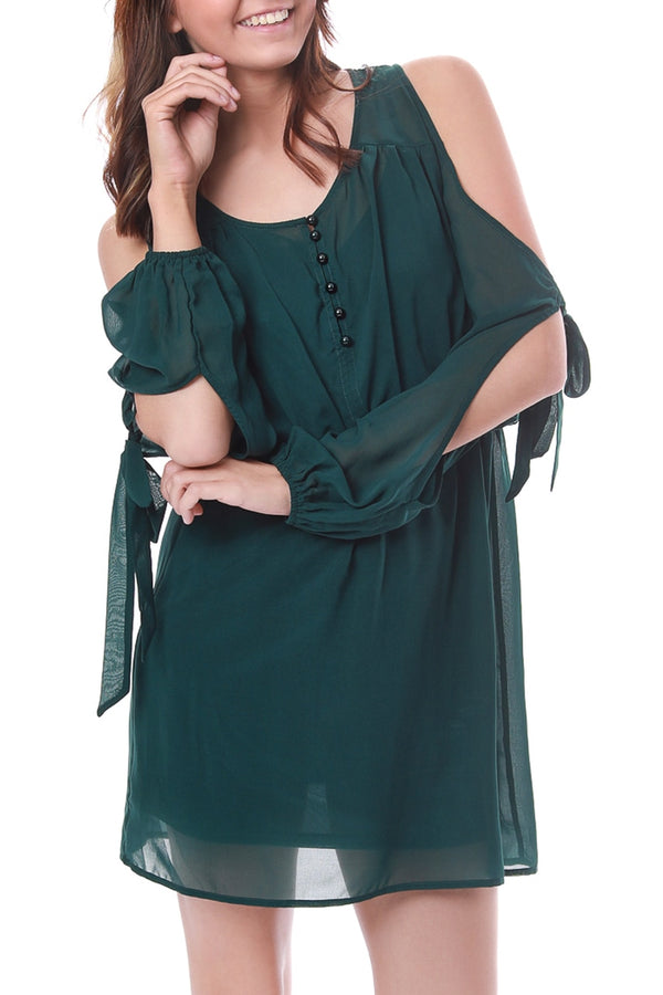 Semi Sheer Cold Shoulder Dress