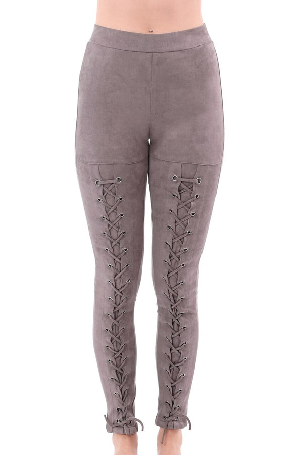 Gray Suede Lace-Up Leggings