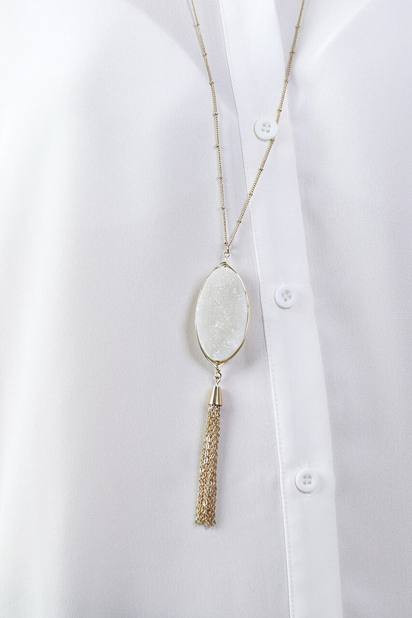 White Stone Filigree Tassel Necklace
