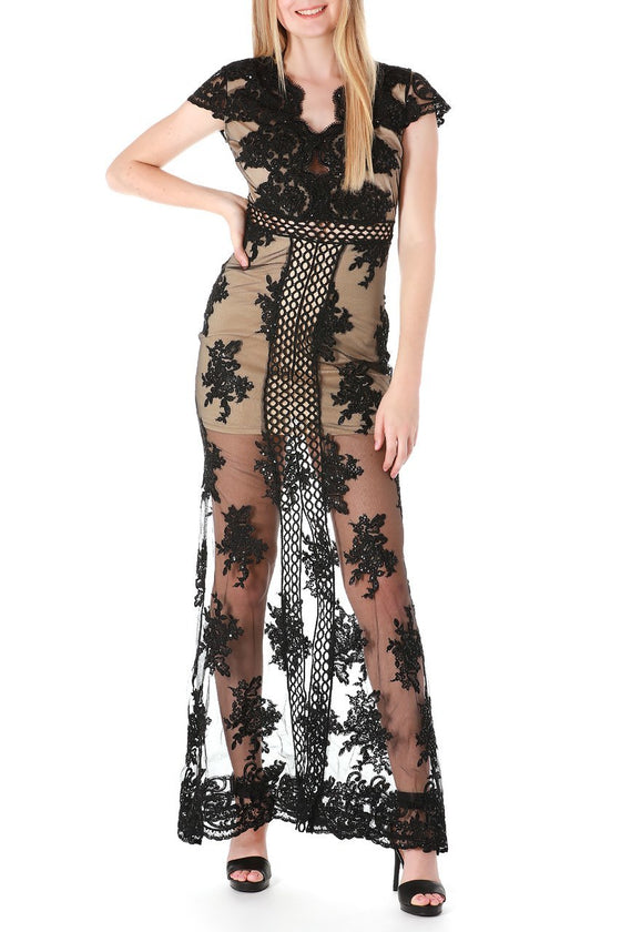 Black Sheer Lace Maxi Dress