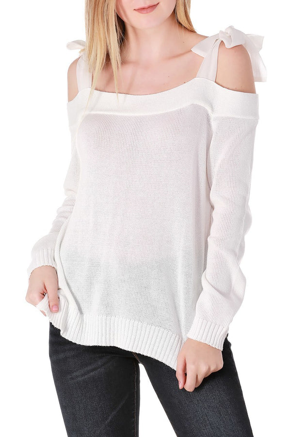 White Off-The-Shoulder Long Sleeve Top