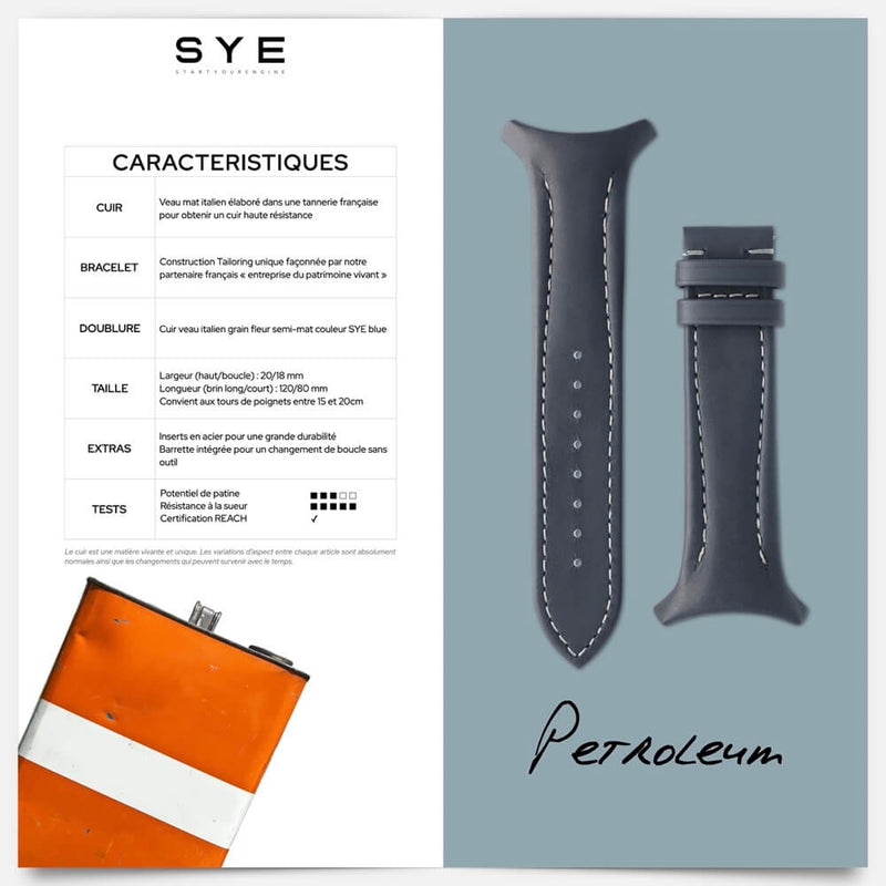 Fastback Premium strap [Petroleum]-[variant_title]-sye-start-your-engine-watches-montres