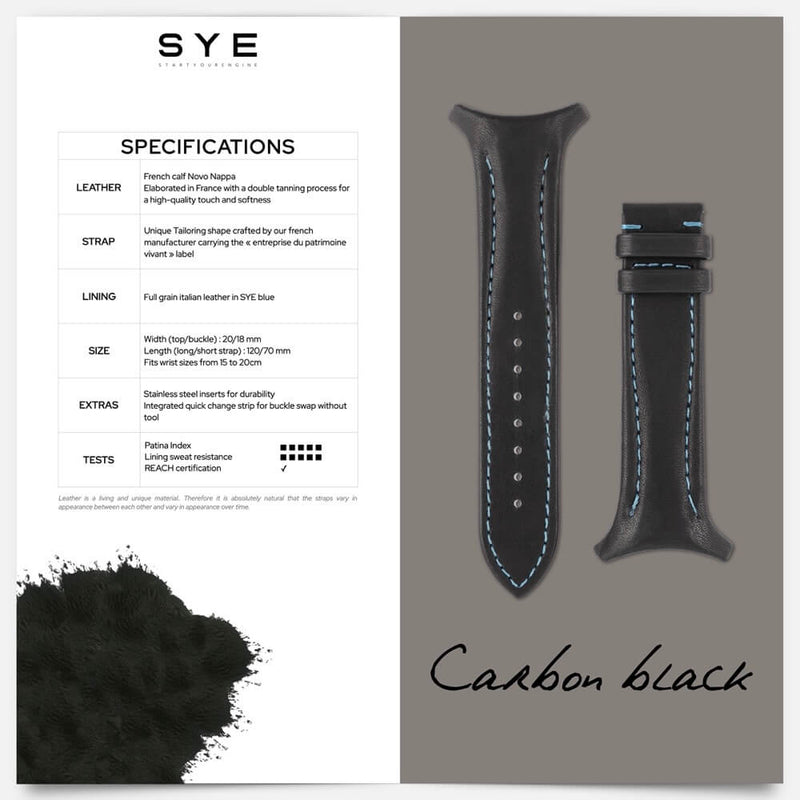Fastback Premium strap [Carbon black]-[variant_title]-sye-start-your-engine-watches-montres