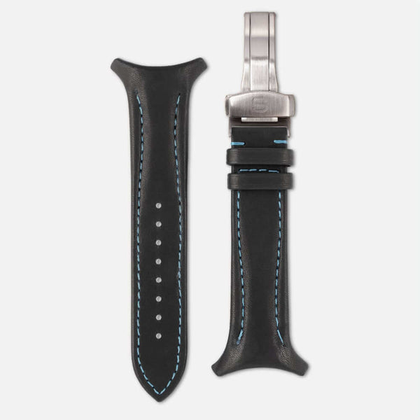 Fastback Premium strap [Carbon black]-Strap + folding clasp-sye-start-your-engine-watches-montres