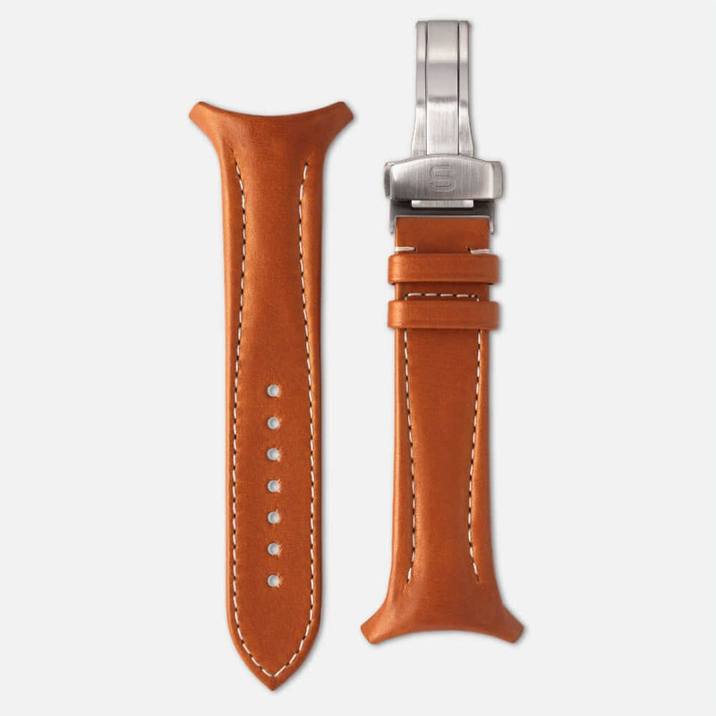 Fastback Premium strap [Whiskey]-Strap + folding clasp-sye-start-your-engine-watches-montres