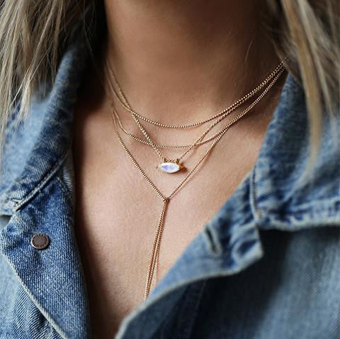 LEAH ALEXANDRA | MARQUIS NECKLACE IN MOONSTONE & GOLD
