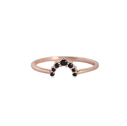 Leah Alexandra | Rainbow Ring with Black Garnet