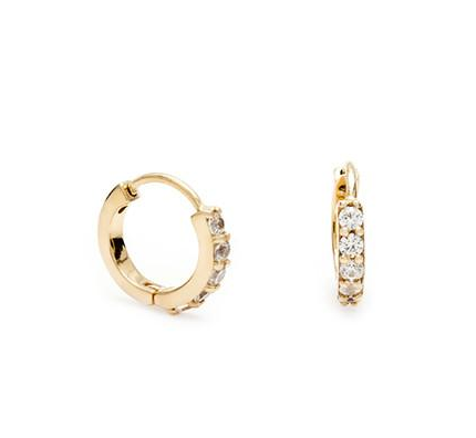 Leah Alexandra | Pave Huggie Hoops in Gold