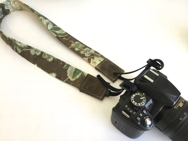 Vintage Floral - camera strap / linen & waxed canvas