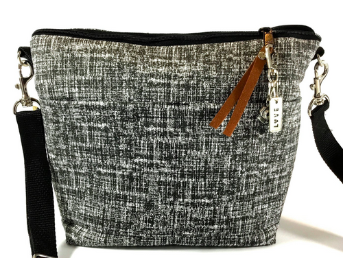 Camera bag travel size / Black & White Cotton crosshatch