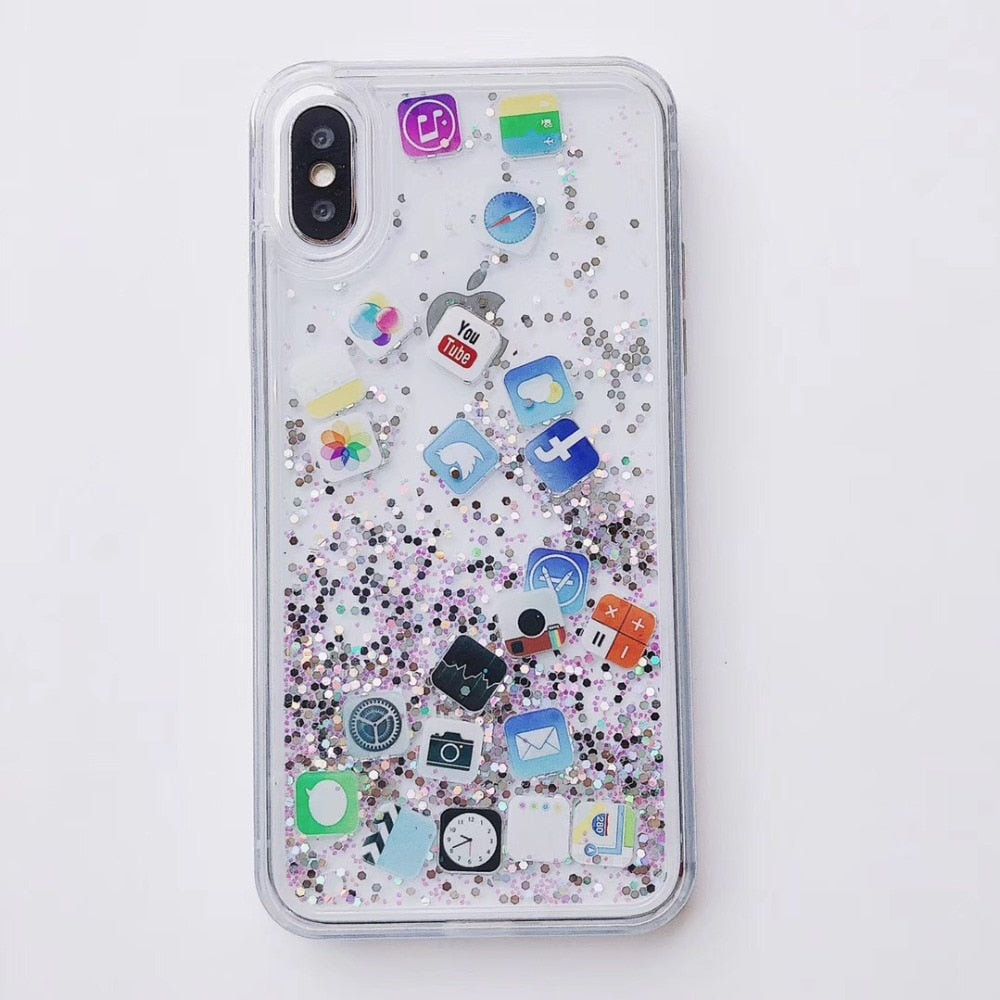 Bling Flowing Glitter Cute Smart Phone App icons Phone Case For iphone