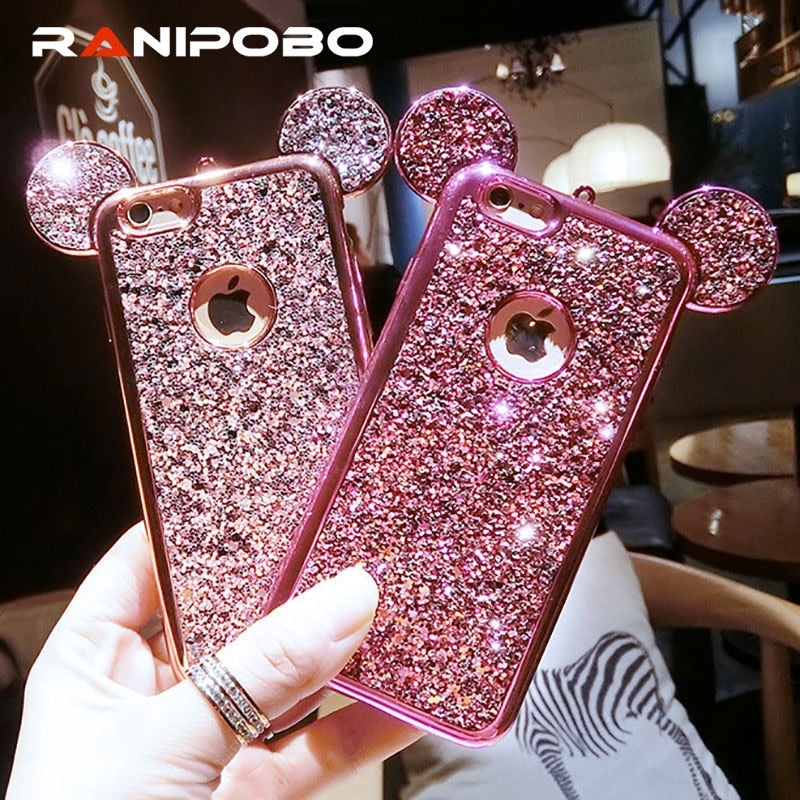 de71a509a4 Luxury Rhinestone Glitter Bling 3D mouse ear Phone Case for iPhone 7 7 Plus  5 5S ...