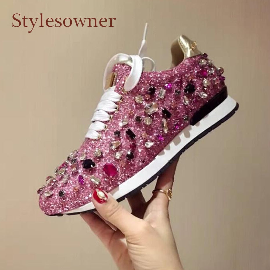 a4c6d0c11a34fc Genuine Leather and Rhinestone sneakers lace up bling – Glitzy Glam Shop
