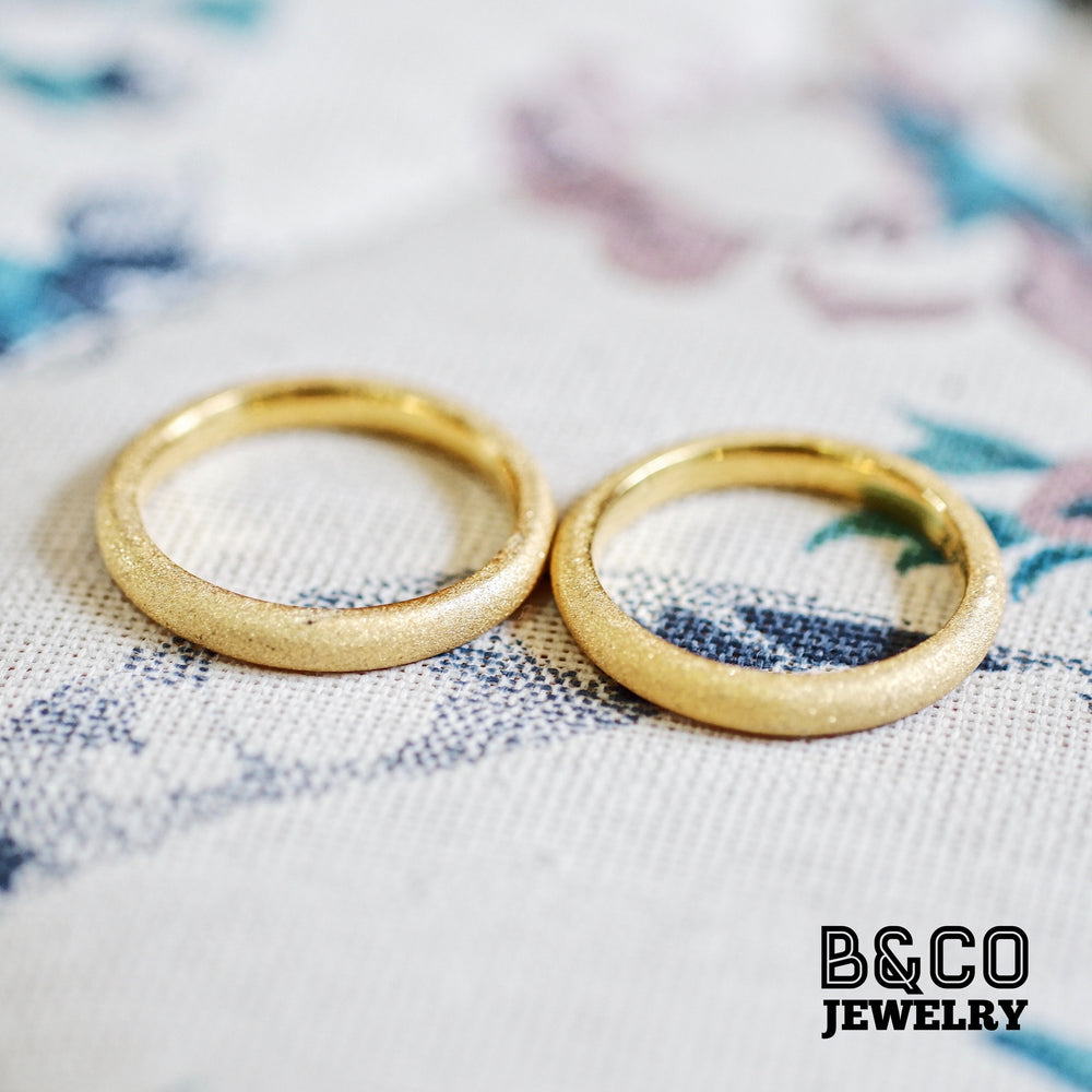 Minimalist Sandblast Wedding Rings