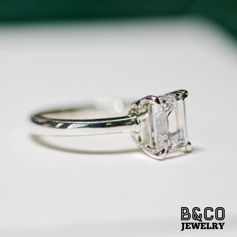 1.5ct Emerald Cut Solitaire Engagement Ring