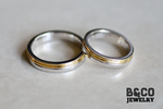 Arezzo Plain Two Tone Wedding Rings